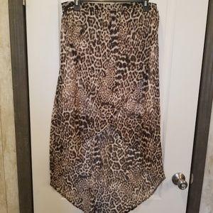 Leopard Print High-Low Skirt